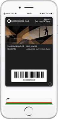 Carte Boardriders Club dématérialisée dans Apple Wallet