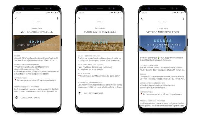 Carte Privilèges Sandro mise à jour pendant les soldes dété 2019 sur Android