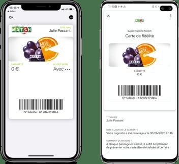 Carte de fidélité Supermarché Match dans Apple Wallet et Google Pay
