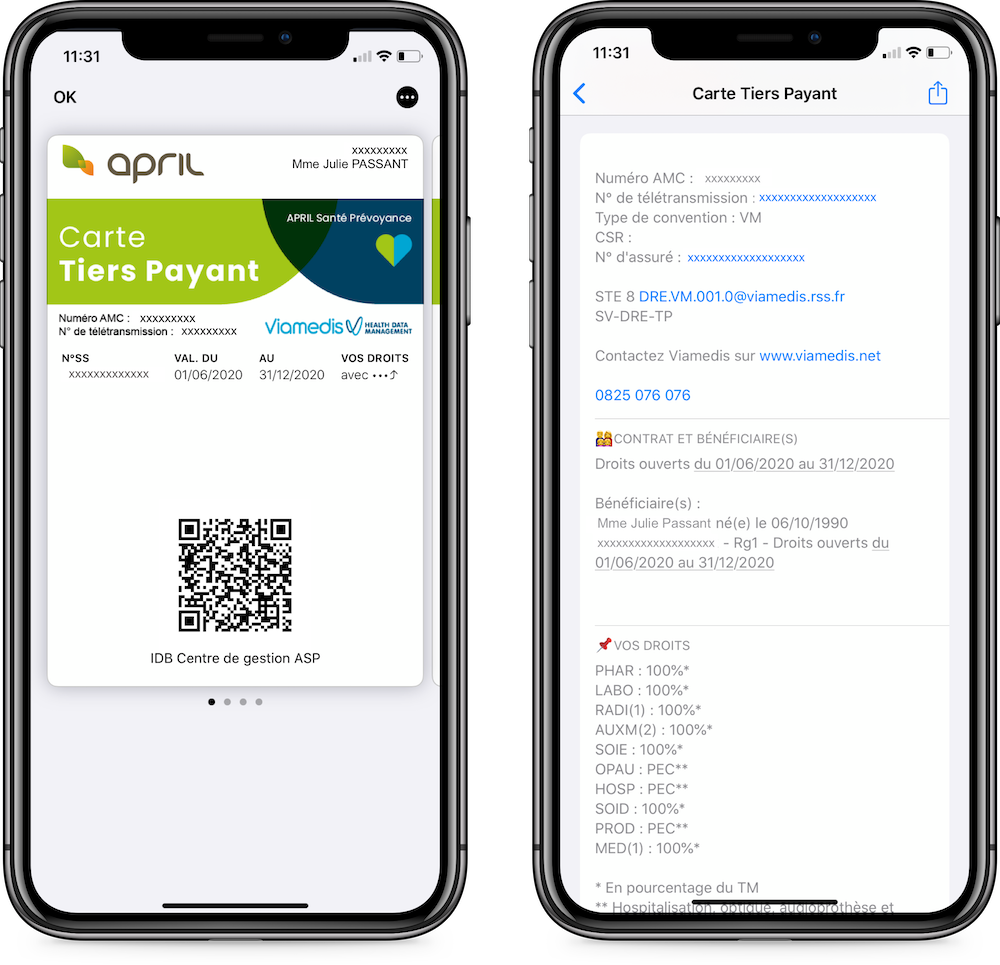 Carte tiers payant April sur Apple Wallet