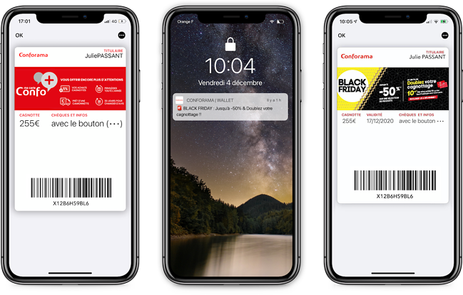 Conforama relaie ses offres via le mobile wallet (iOS)