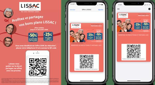 Dématérialisation du coupon LISSAC dans le wallet via un QR code en point de vente