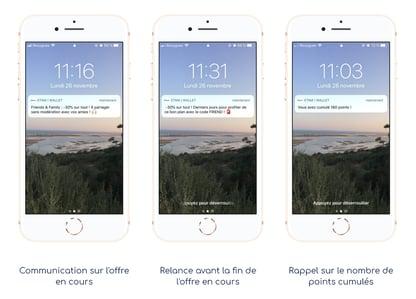 Envoi de notifications push grâce au wallet mobile