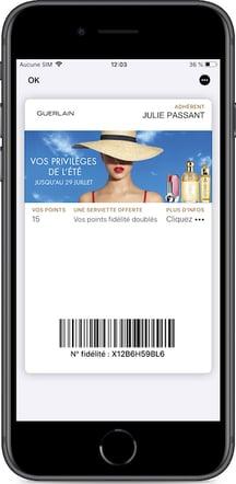 Mise à jour du programme de fidélité Guerlain importé dans les wallet mobile pour son offre dété 2019