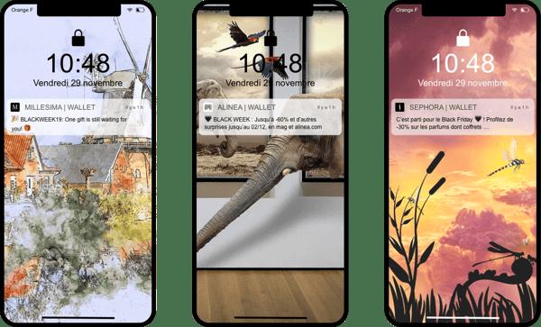 Notifcations push Millesima, Alinea et Sephora - wallet mobile