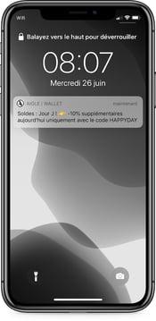 Notification push Aigle pour les soldes 2019 - campagne sur wallet mobile
