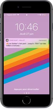 Notification push Cdiscount pour les soldes 2019 - campagne sur wallet mobile