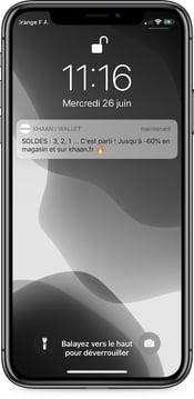 Notification push Khaan pour les soldes 2019 - campagne sur wallet mobile