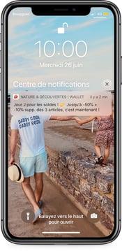 Notification push Nature & Découvertes pour les soldes 2019 - campagne sur wallet mobile