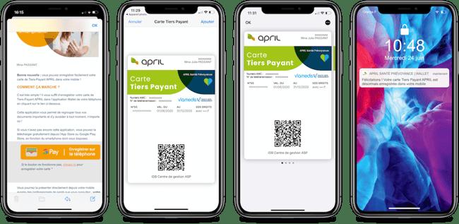 Parcours de dématérialisation de la carte tiers payant April sur iOS via un mail dédié
