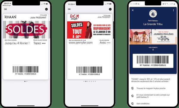 Pass dématérialisés dans les wallet mobile mis à jour à loccasion des soldes 2020 - Khaan, Jennyfer et Petit Bateau - Captain Wallet