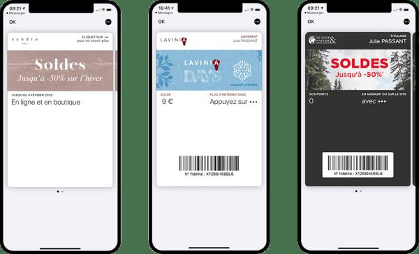 Pass dématérialisés dans les wallet mobile mis à jour à loccasion des soldes 2020 - Sandro, Lavinia et Nature & Découvertes - Captain Wallet