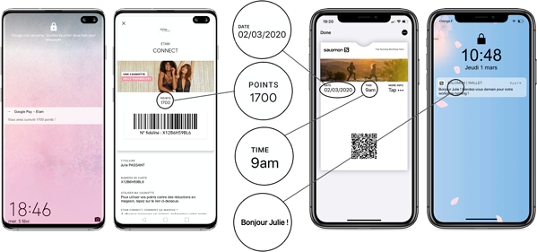 Personnalisation du pass wallet et de la notification push