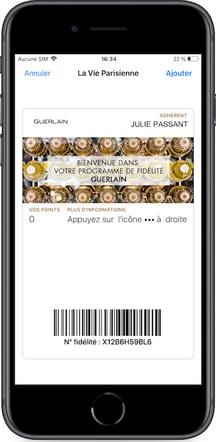 Programme de fidélité Guerlain en un clic sur wallet mobile