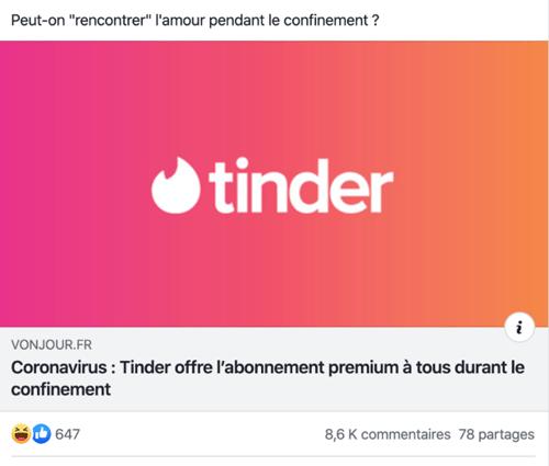 Tinder offre un mois gratuit sur Facebook