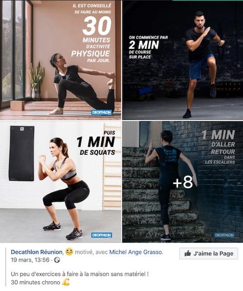 Tutoriels sportifs de Decathlon sur Facebook