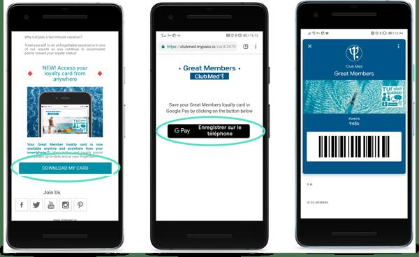 Parcours de dématérialisation de la carte Great Members dans Google Pay